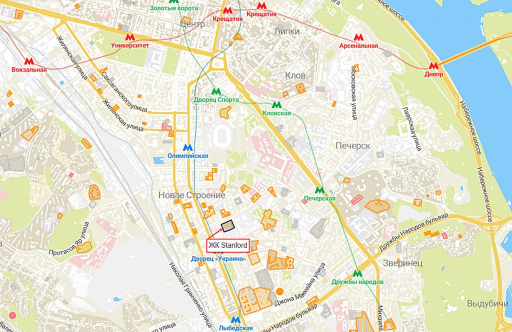 ЖК Stanfordна карте