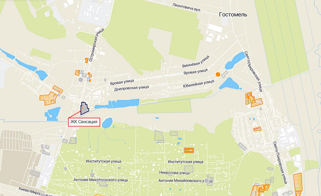 ЖК Сенсация Рок сити в Гостомеле на карте