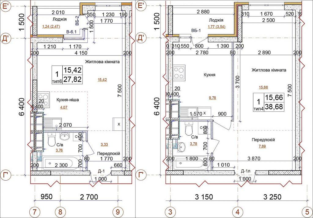 ЖК на ул. Петлюры, 21-б план смарт-квартиры и однокомнатной квартиры