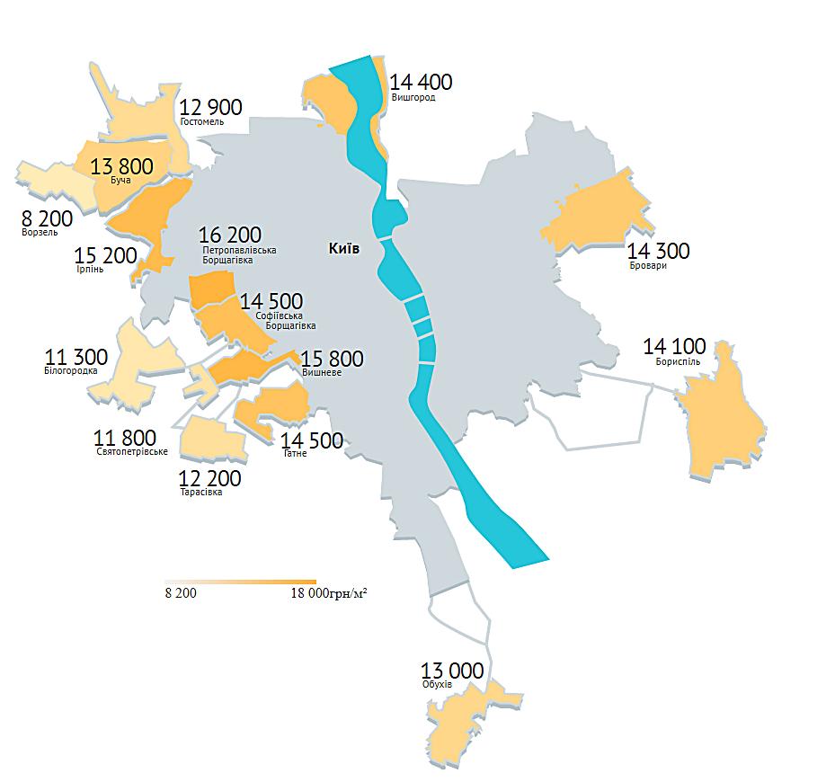 Средняя стоимость за квадратный метр в пригороде Киева, апрель 2020 года