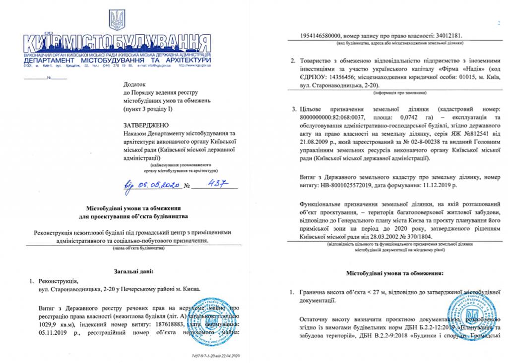 Ограничения на проектирование объекта строительства по ул. Старонаводницкая, 2-20