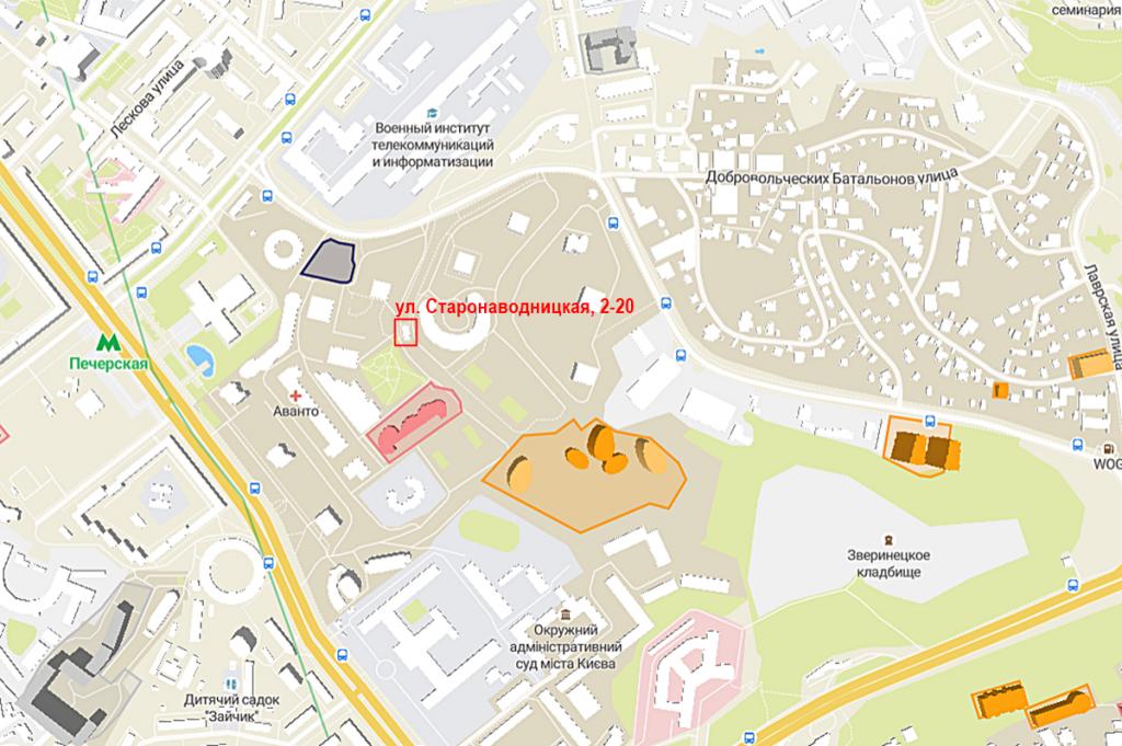 Будущий проект по ул. Старонаводницкая, 2-20 на карте