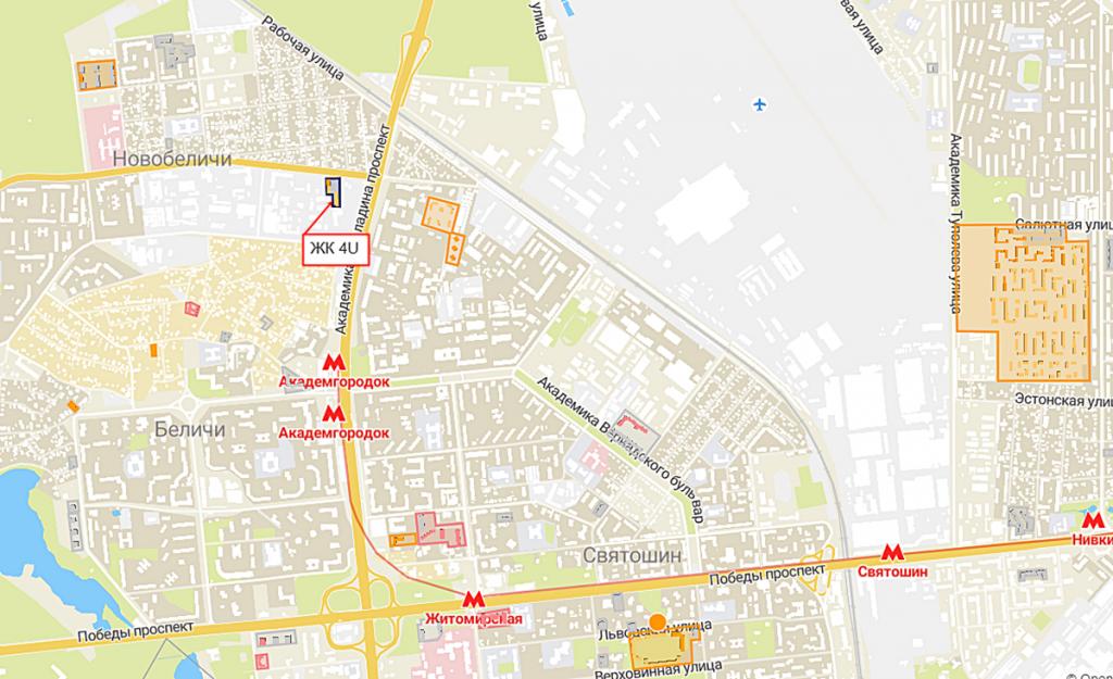 ЖК 4U на карте
