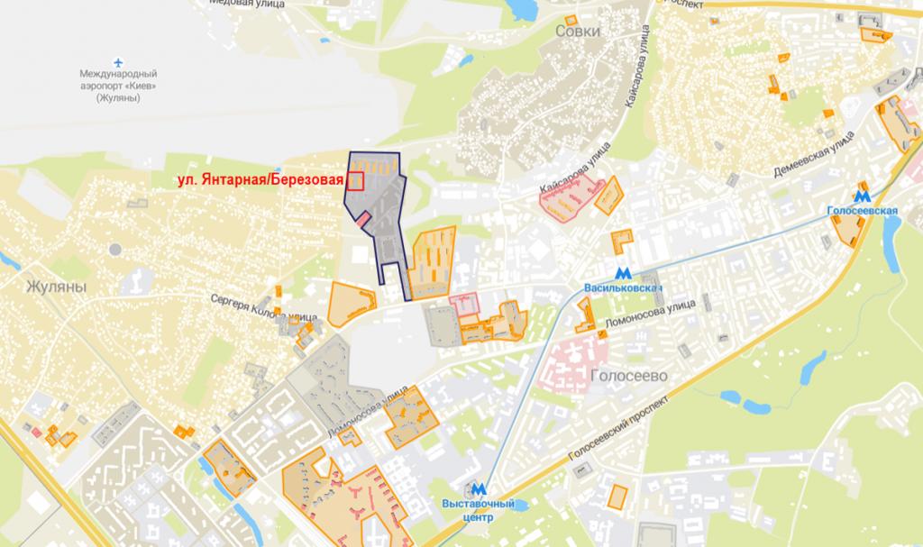 Будущий проект по ул. Янтарная и Березовая на карте