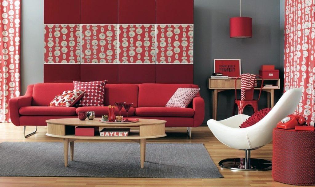 Пример красных оттенков в интерьере