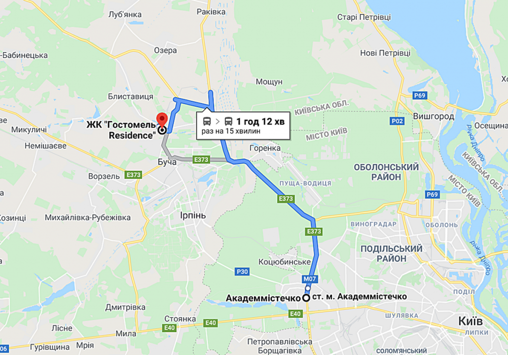 ЖК Гостомель Резиденс маршрут к комплексу