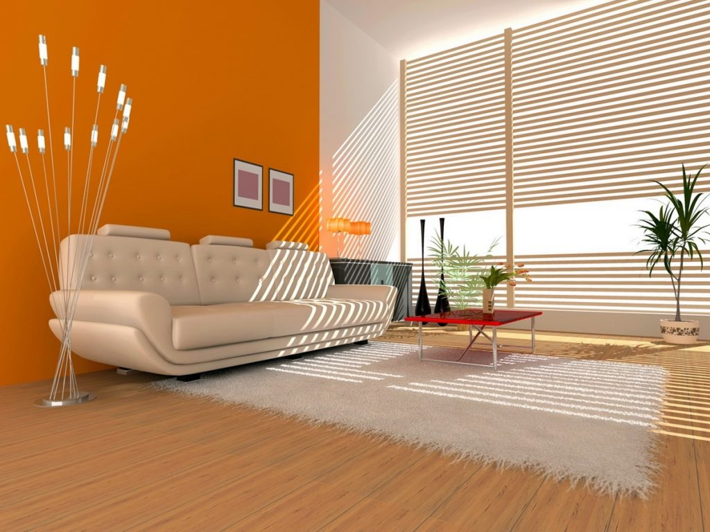Пример оранжевого цвета в интерьере