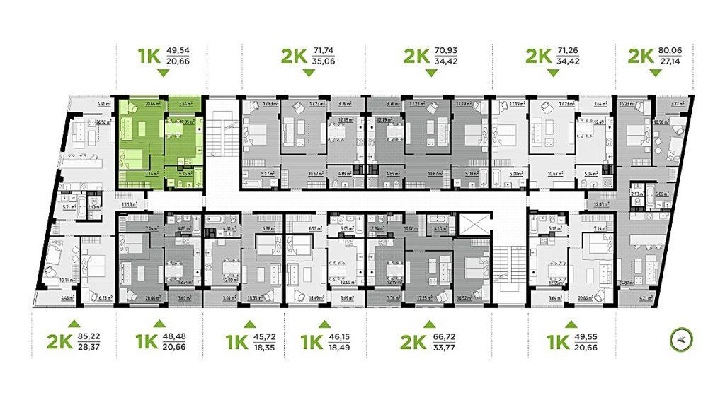 ЖК Park Town план этажа 6 дома