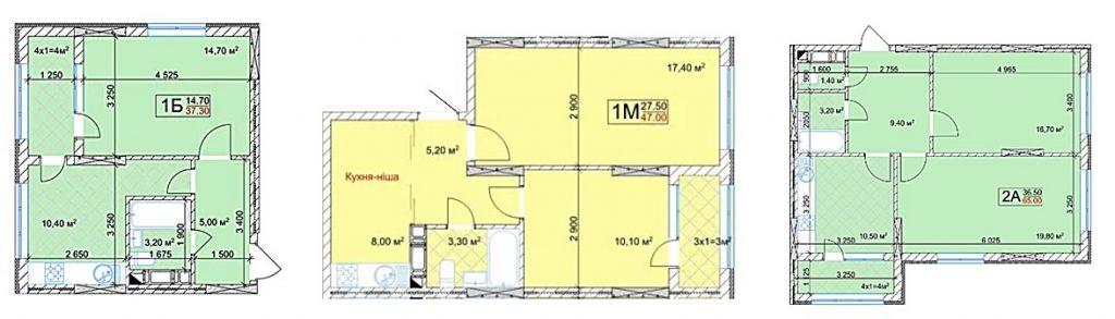 ЖК Квітень пример планировок одно- и двухкомнатных квартир