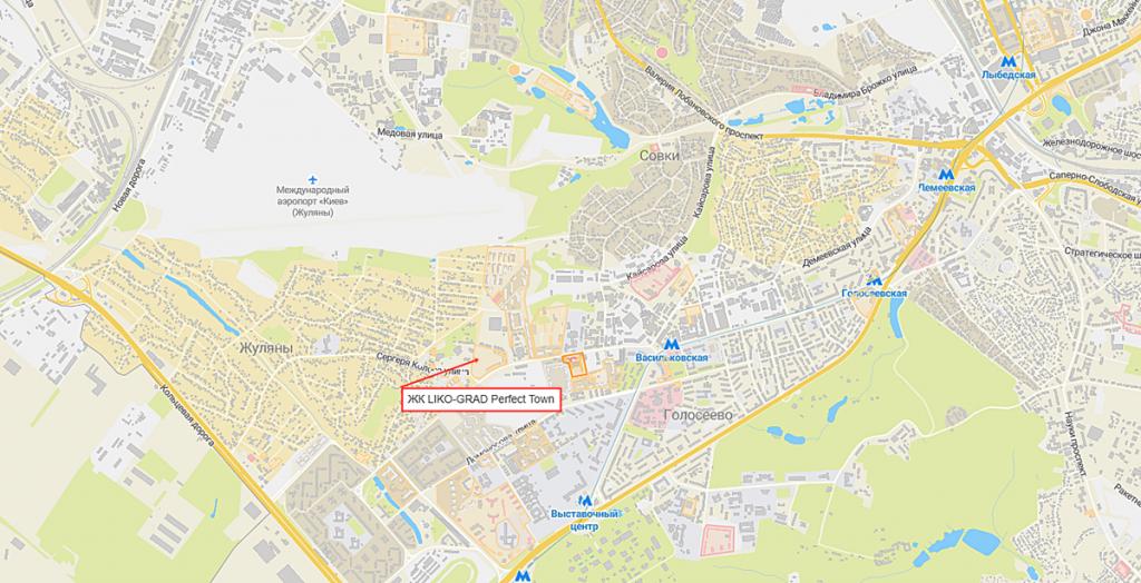 ЖК LIKO-GRAD Perfect Town на карте