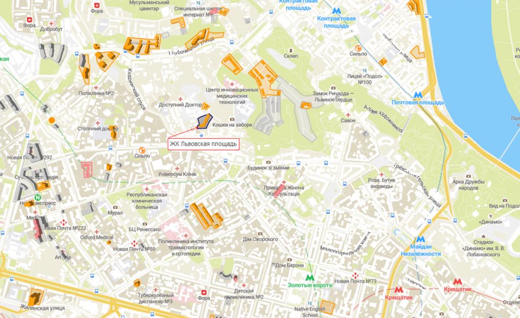 ЖК Львовская площадь на карте