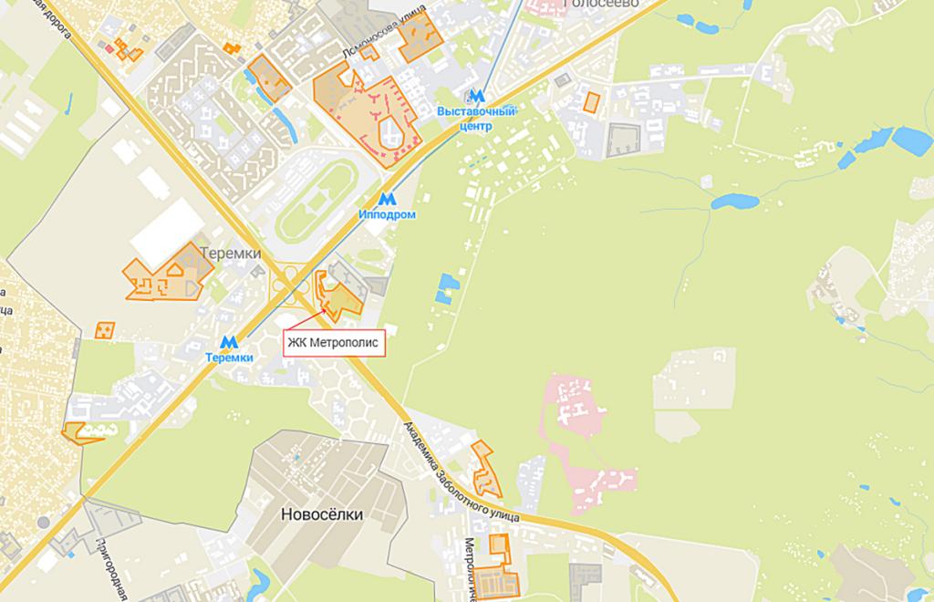 ЖК Метрополис на карте