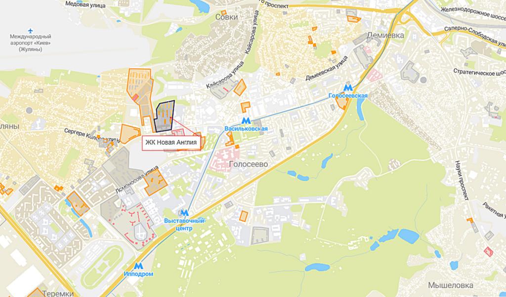 Новостройки с собственными школами ЖК Новая Англия на карте