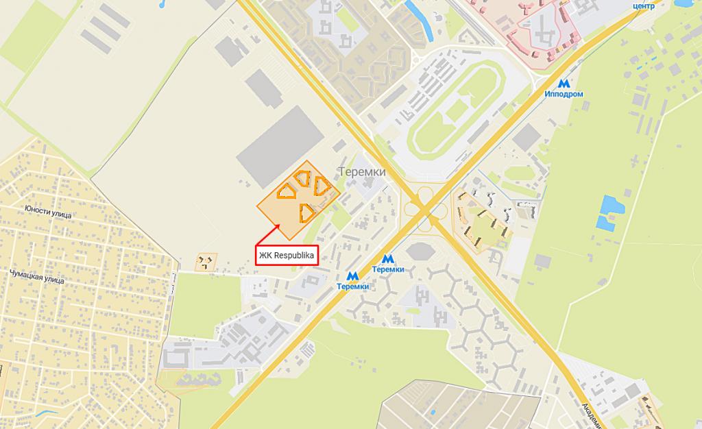 Новостройки с собственными школами ЖК Республика на карте