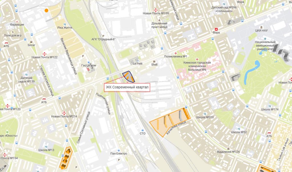 ЖК Современный квартал на карте