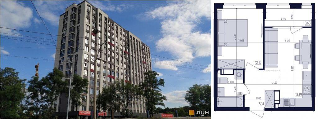 ЖК Современный квартал статус строительства и пример однокомнатной квартиры