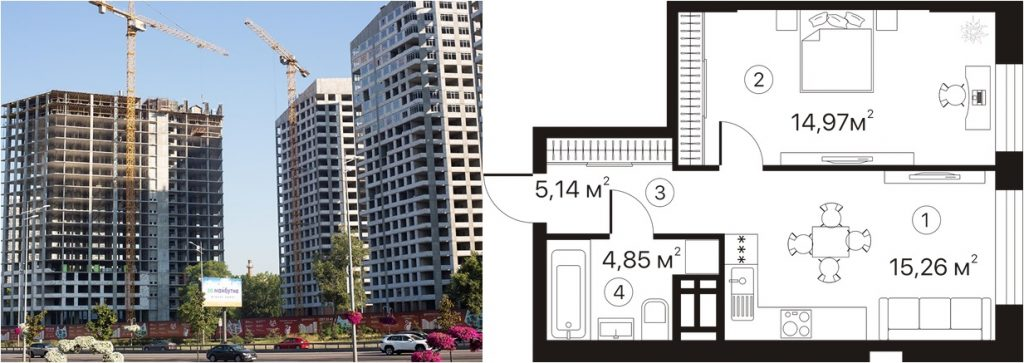 ЖК Terracotta статус строительства и пример однокомнатной квартиры