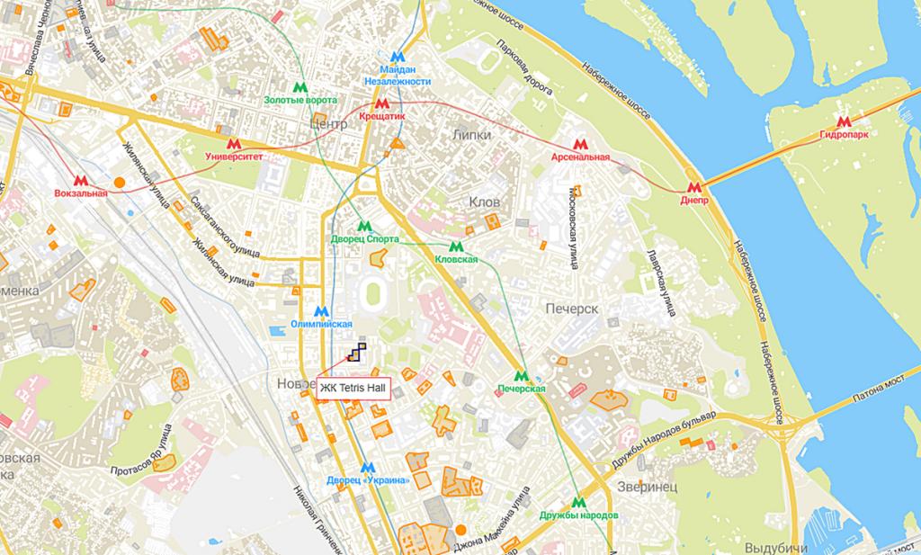 ЖК Tetris Hall на карте
