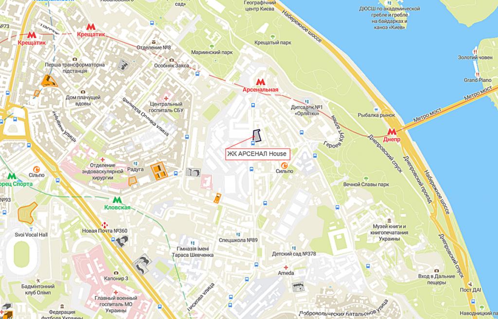 ЖК АРСЕНАЛ House на карте