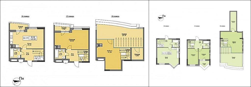 ЖК Vyshgorod Plaza пример планировки трехкомнатной квартиры