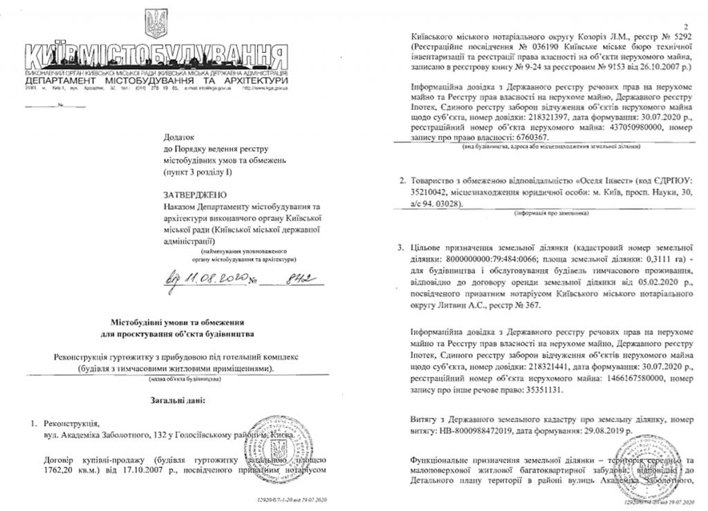 Будущий проект по ул. Заболотного, 132 Градостроительные условия и ограничения