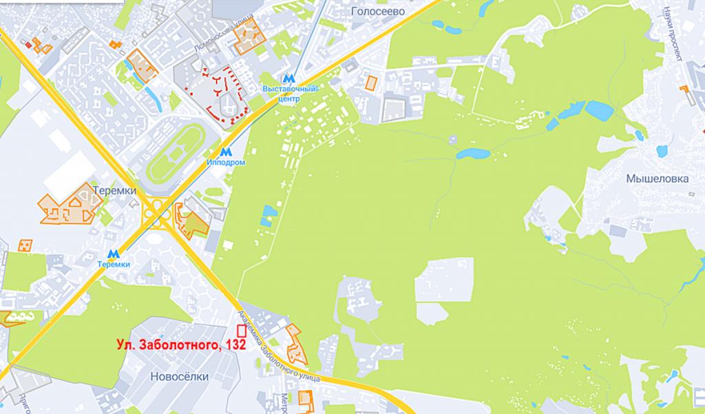 Будущий проект по ул. Заболотного, 132 на карте