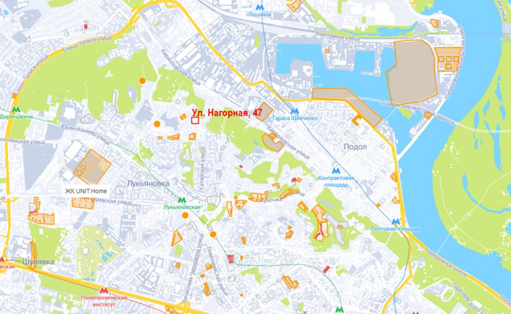 Будущий проект по ул. Нагорная, 47 на карте