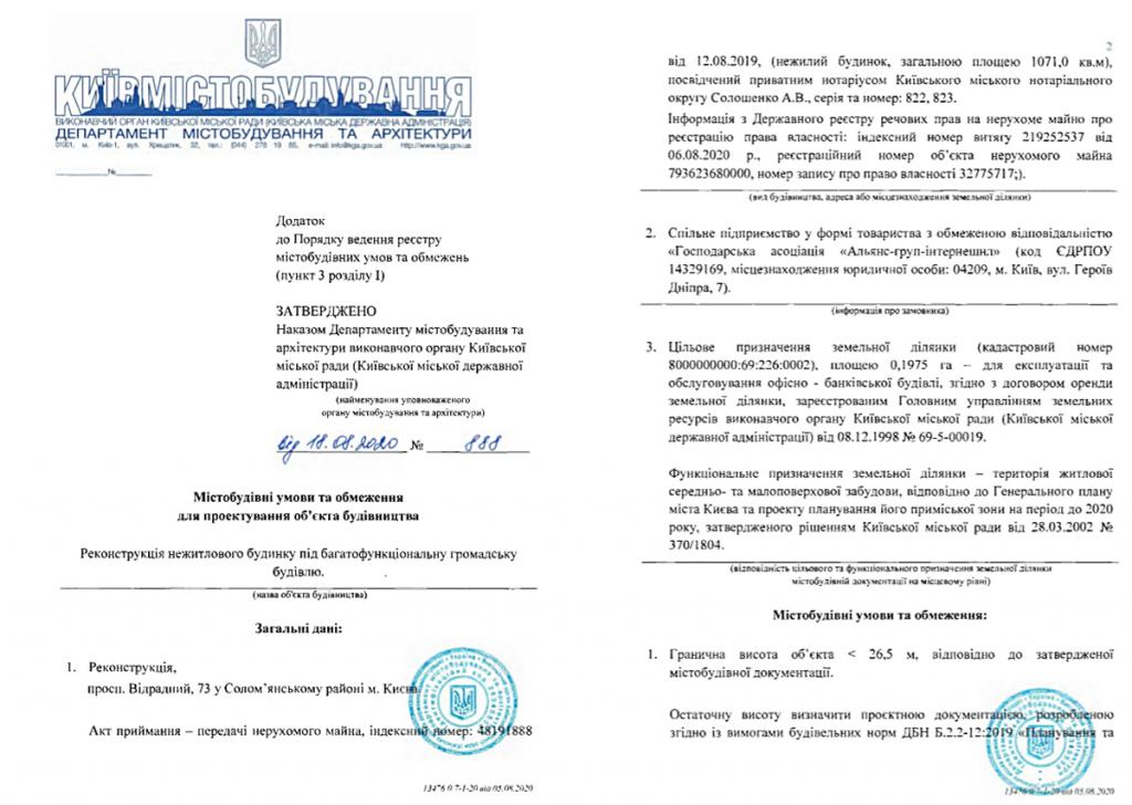 Будущий проект по пр. Отрадный, 73 Градостроительные условия и ограничения