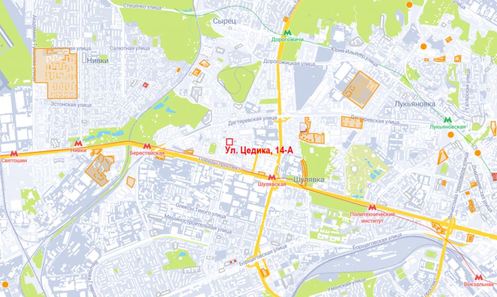Будущий проект по ул. Цедика, 14-А на карте
