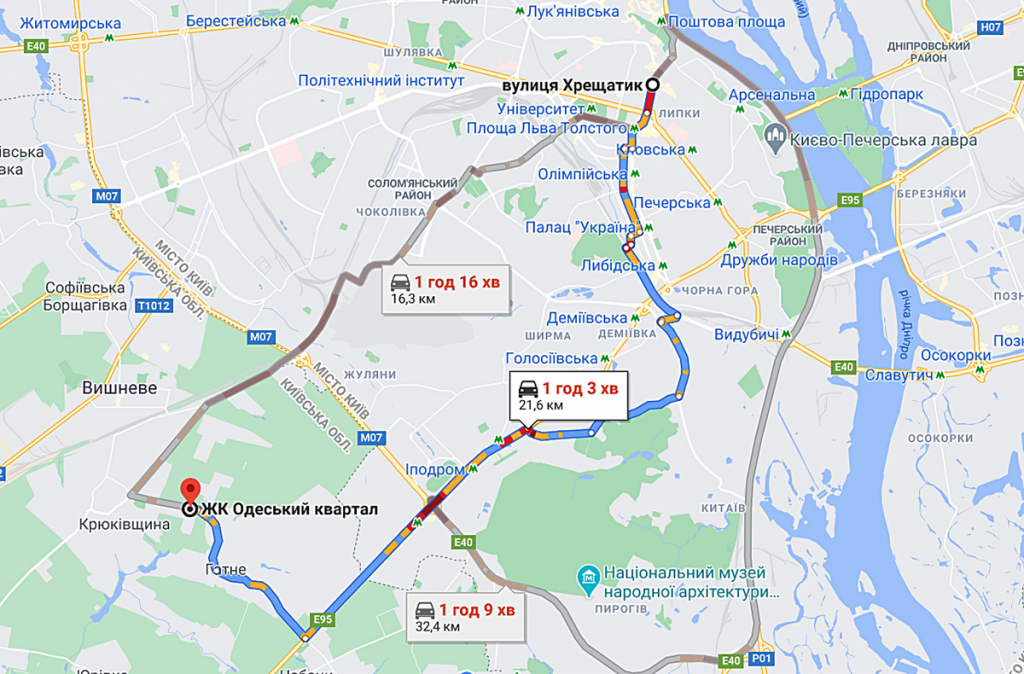 ЖК Одесский квартал маршрут с центра города