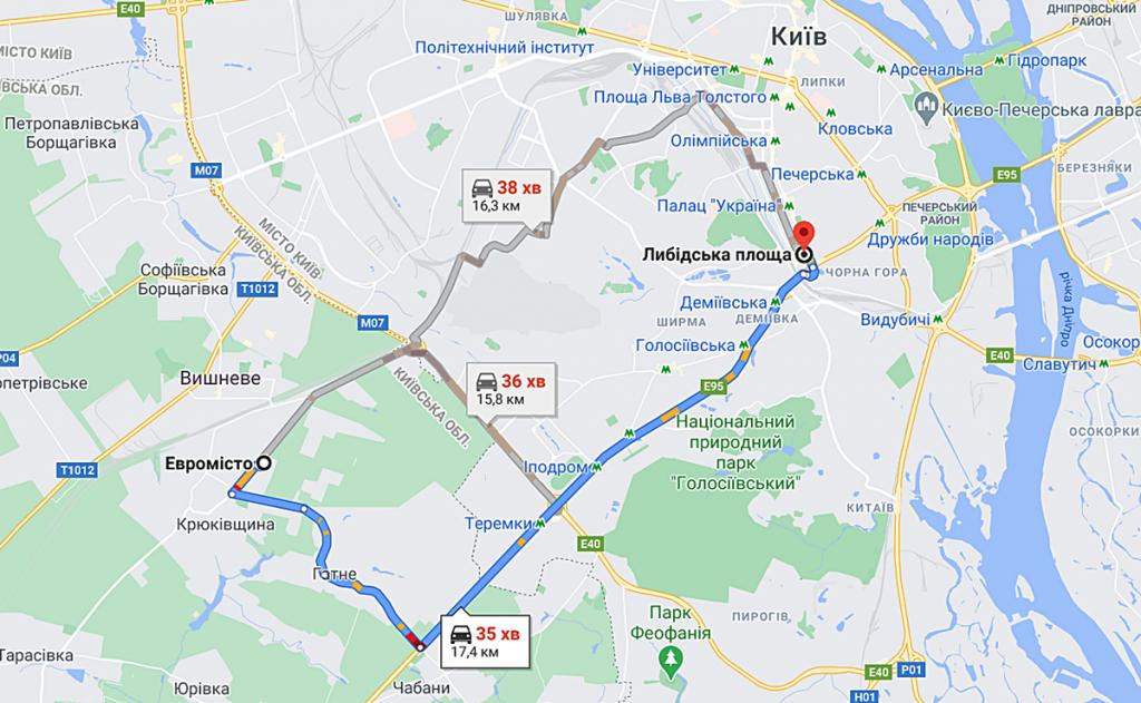 ЖК Європейське місто маршрут в столицу