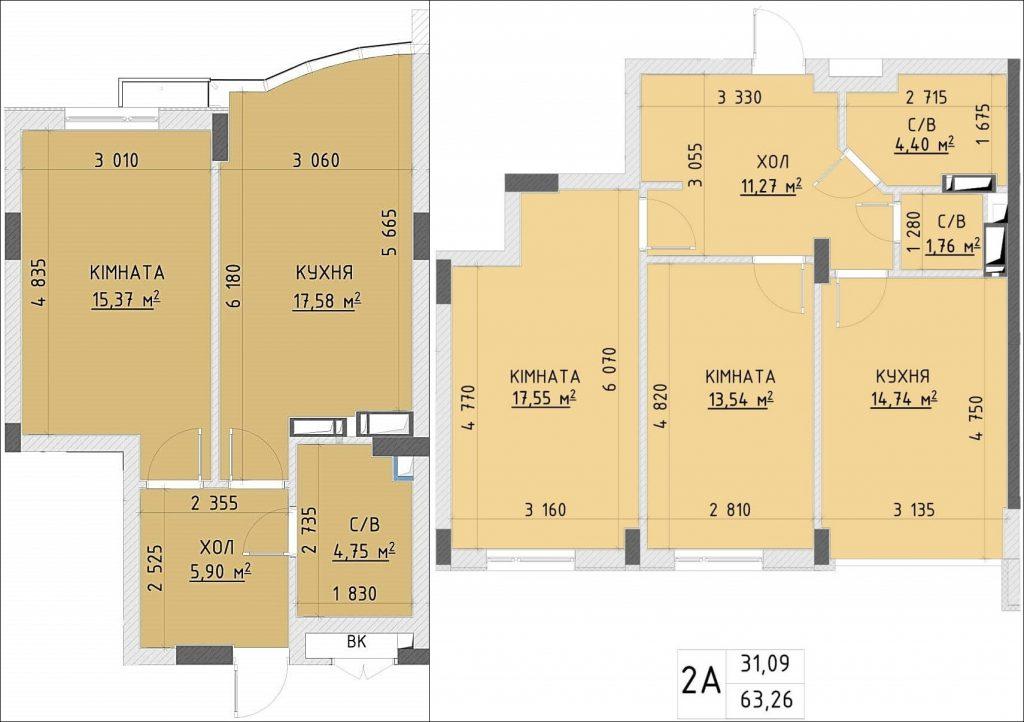 ЖК Central Park пример планировок одно- и двухкомнатной квартир