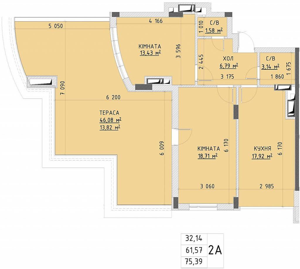 ЖК Central Park пример планировки двухкомнатной квартиры с террасой