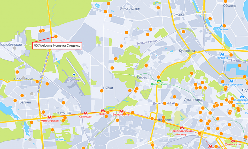 ЖК Welcome Home на Стеценко на карте