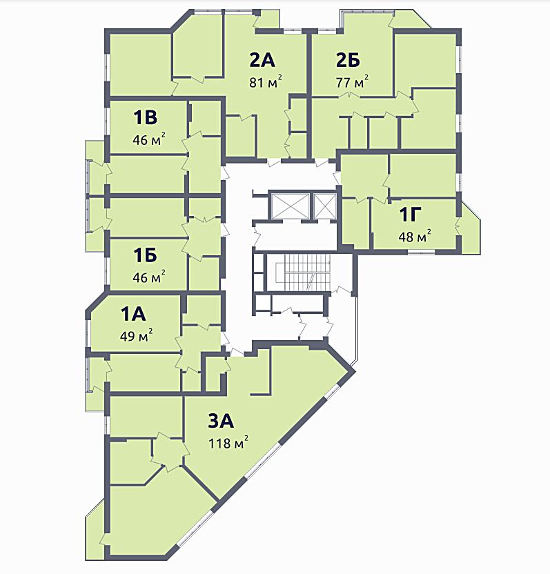 ЖК Зенит в Вышгороде план этажа дома 1