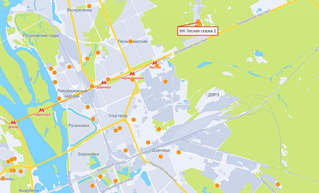 ЖК Лесная Сказка-2 на карте