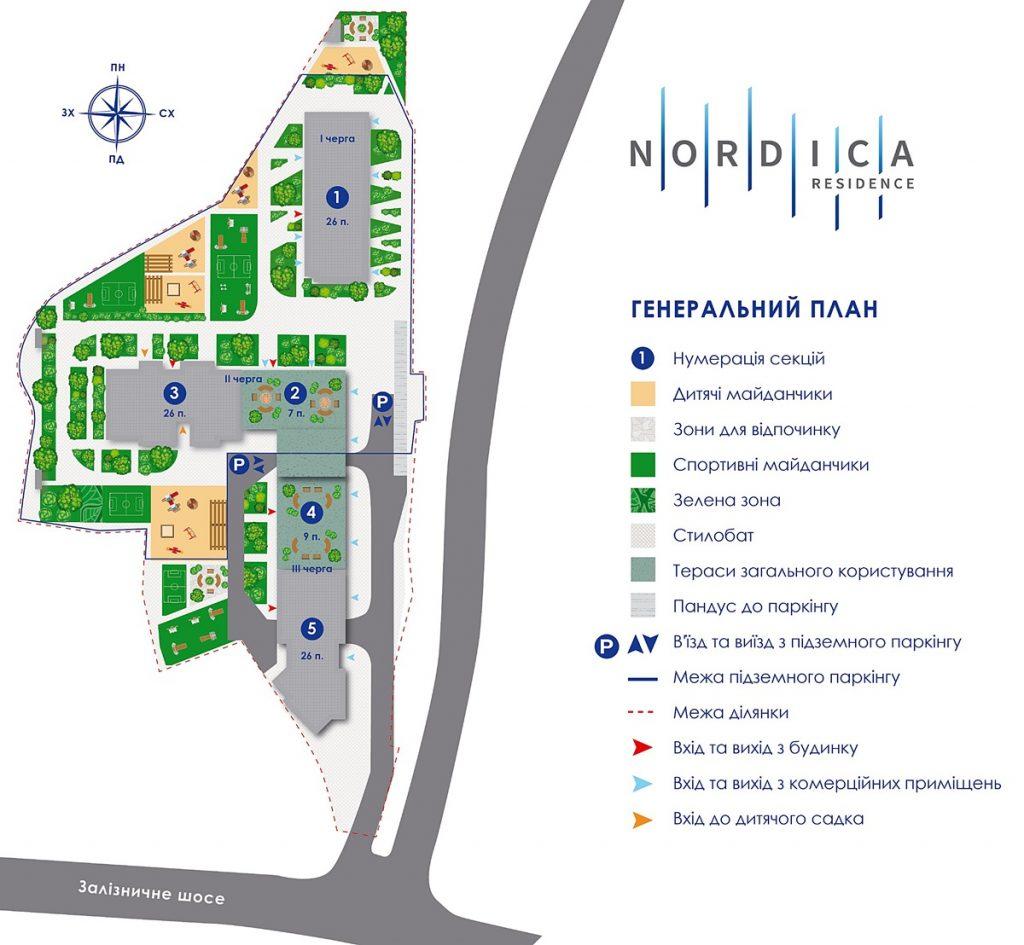 ЖК Nordica Residence генплан от застройщика