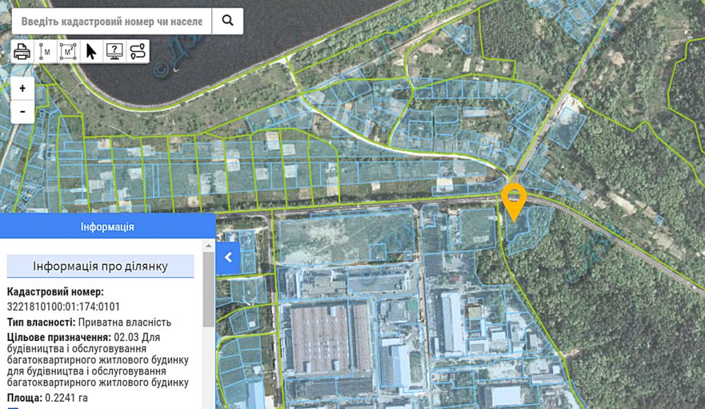 ЖК Зенит в Вышгороде данные о назначении земли в кадастре