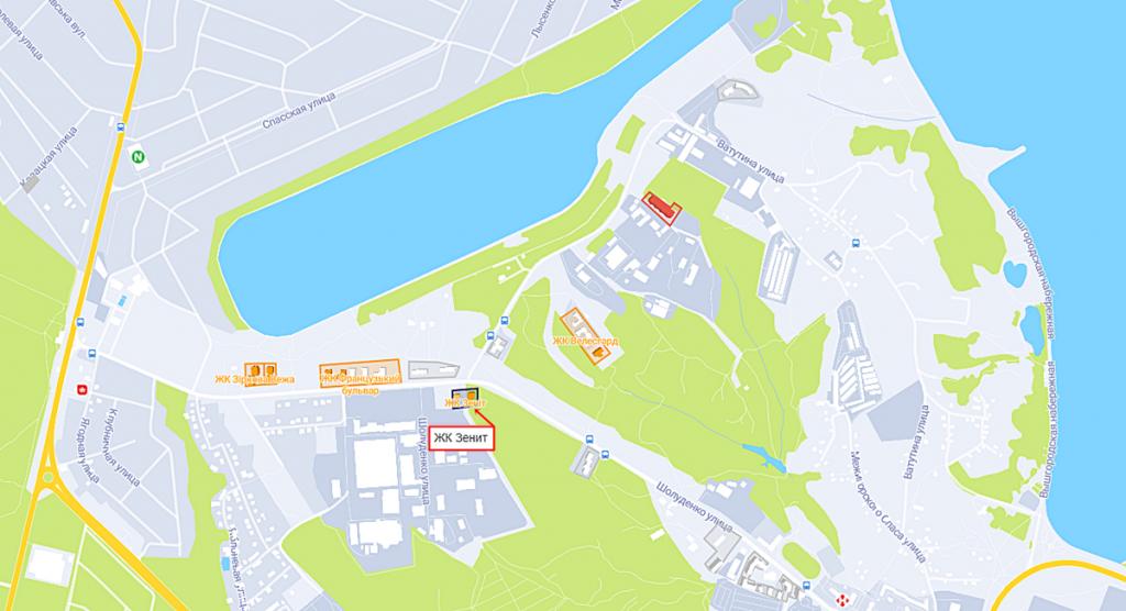 ЖК Зенит в Вышгороде на карте