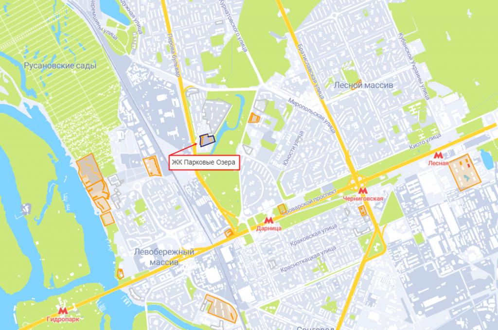 ЖК Парковые Озера-2 на карте
