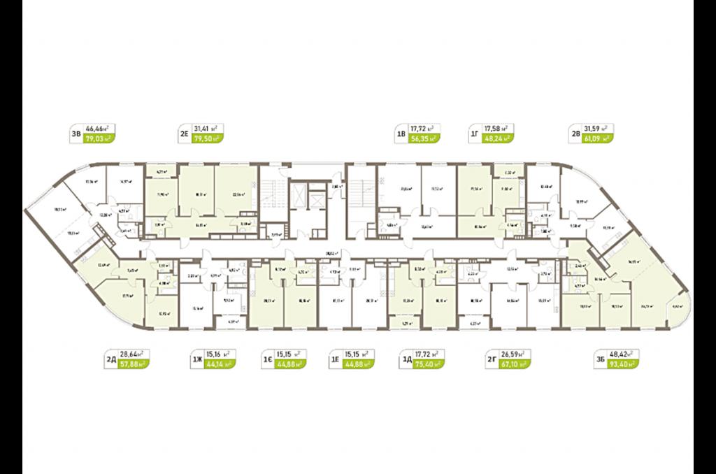 ЖК Парковые Озера-2 план этажа