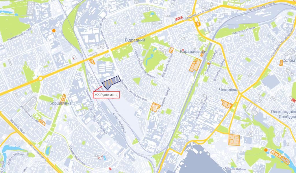 ЖК Рідне місто на карте