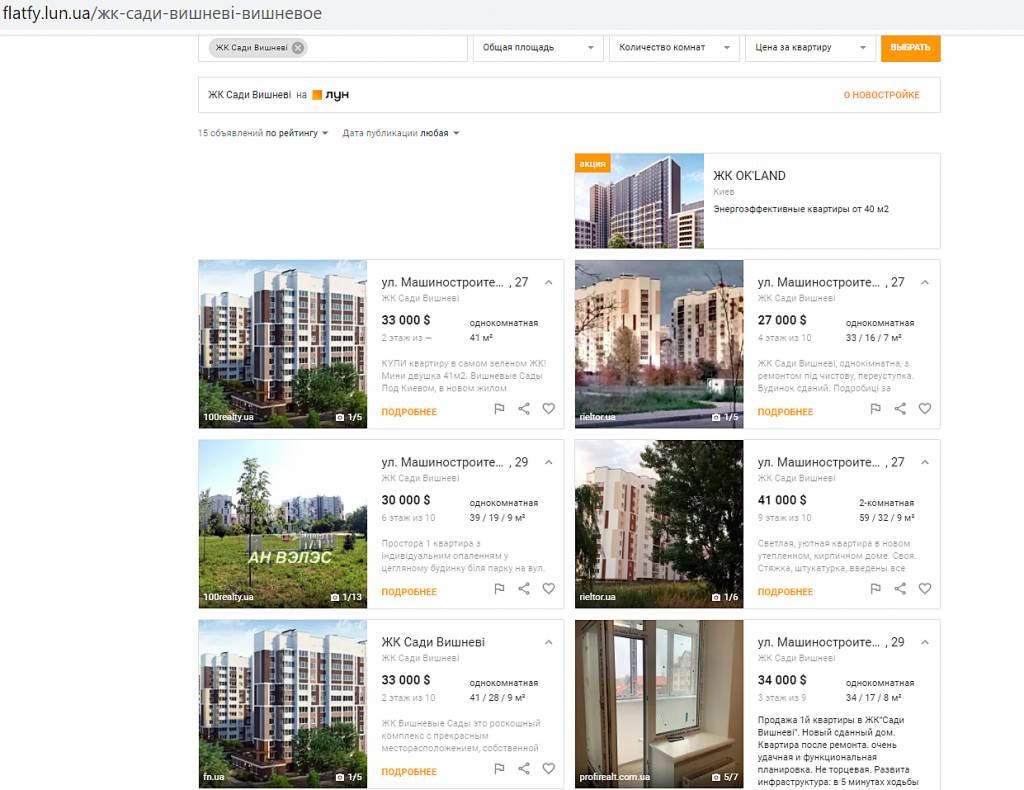 ЖК Сади Вишневі продажа квартир на сайте вторичной недвижимости