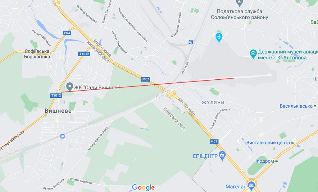 ЖК Сади Вишневі близость к аэропорту
