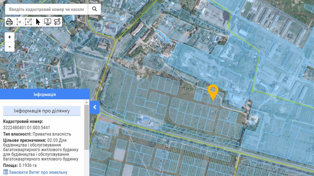 ЖК Белый шоколад Центр в Белогородке данные кадастровой карты