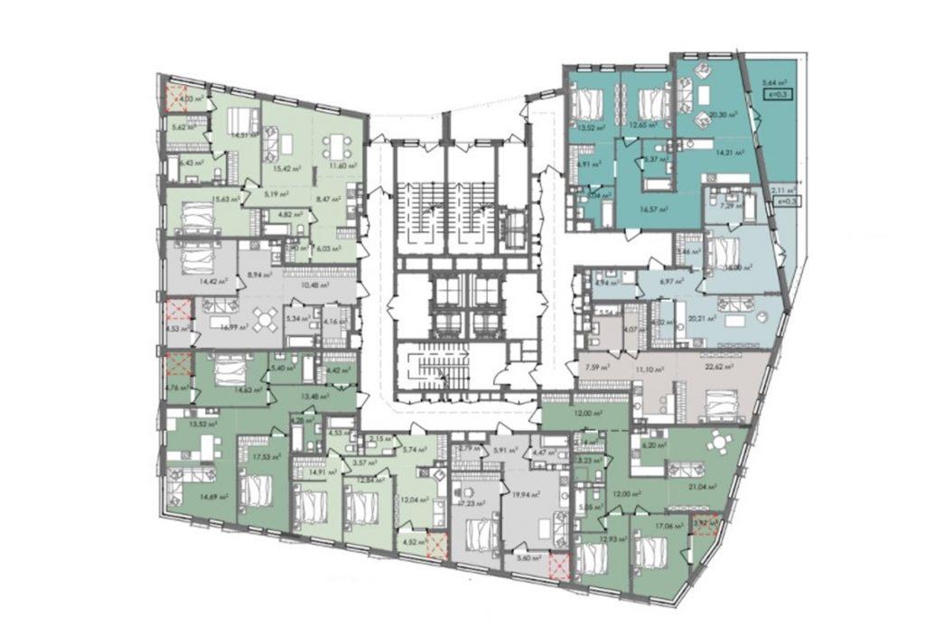 ЖК Краус Галери планировка этажа