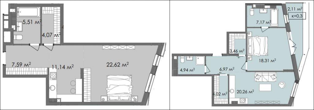 ЖК Краус Галери планировки однокомнатных квартир