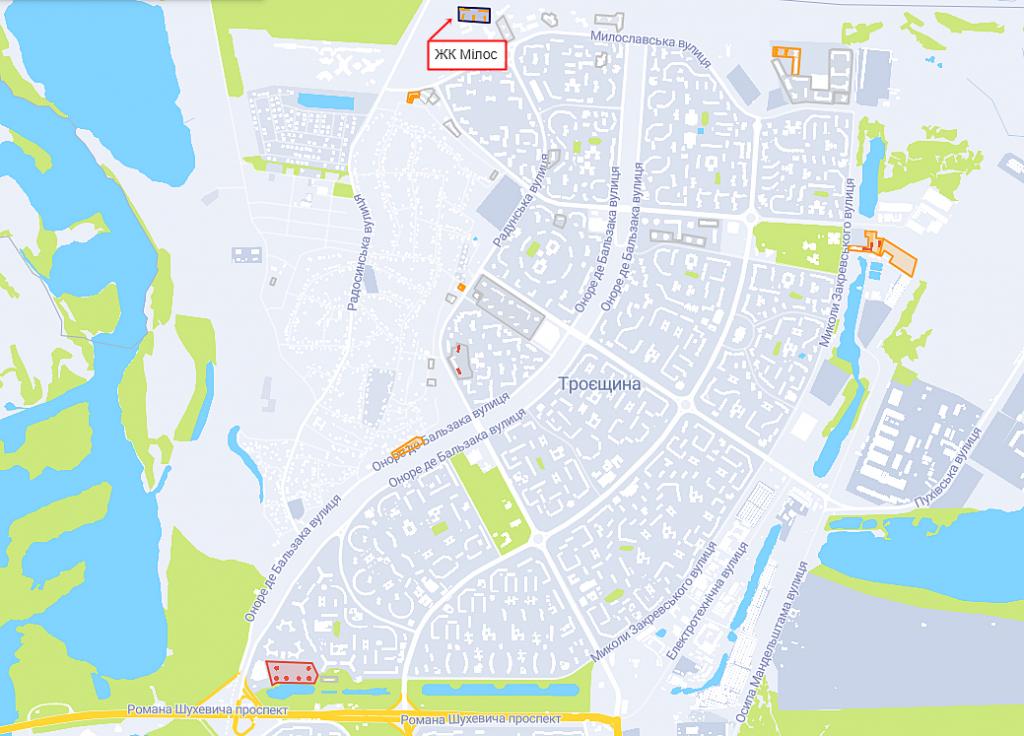 ЖК Милос на карте