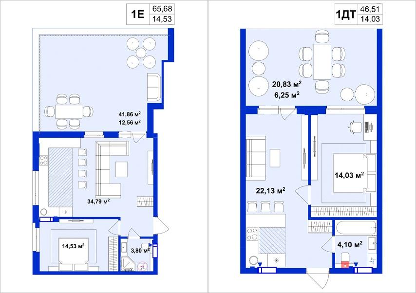 ЖК Utlandia-2 пример планировки однокомнатной квартиры