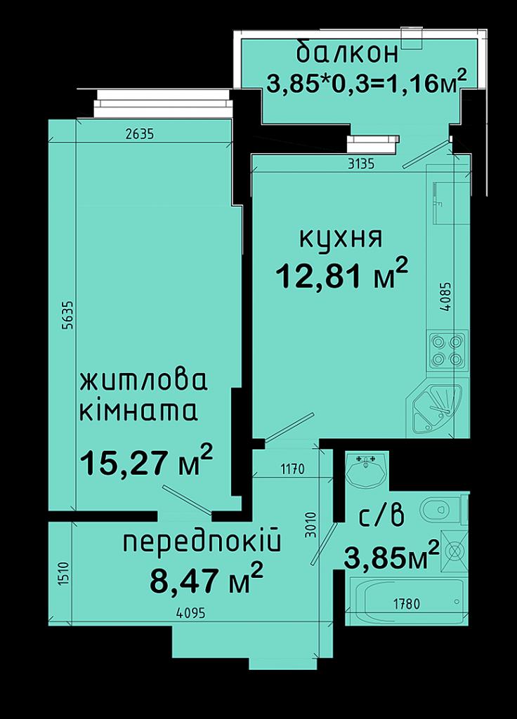 ЖК Авеню 42 вариант планировки 1-комнатной квартиры